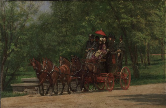 Seven people and a driver sit in a red coach driven by four brown horses.  They're positioned on a path in Fairmount Park, surrounded by grass and trees.  The lady wears a colorful dress and hat; the men all wear hats, the majority of which are top hats.