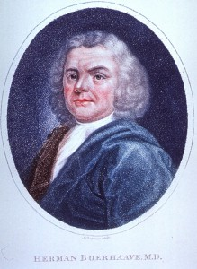 A portrait of Herman Boerhaave, an eighteenth century medical theorist.