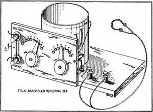 A diagram from a government publication depicting an assembled radio receiver that could be made at home.