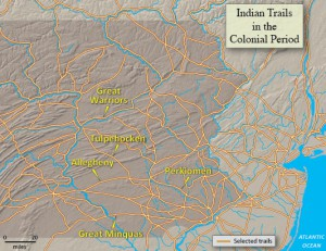 map showing Indian trails in the Colonial period.