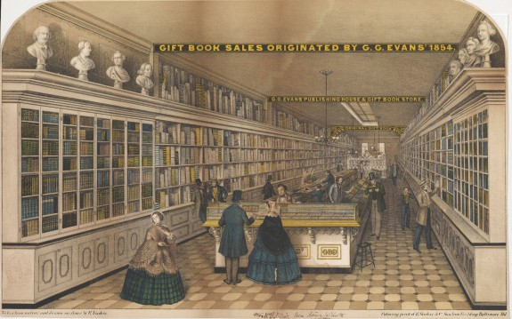 A colored illustration of the interior of George G. Evans gift book establishment.  The interior is long and narrow, with book shelves lining each wall, packed tightly with books of various sizes and colors.  Shoppers browse, wearing typical mid-nineteenth century garb.