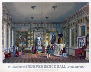 A color lithograph of the interior of Independence Hall in the mid-nineteenth century showing visitors in the newly-renovated building