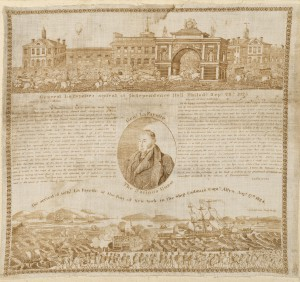 Handkerchief printed with scene of Independence Hall