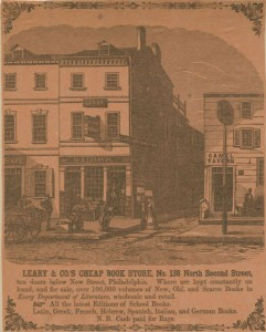 An illustration of W.A. Leary & Co.'s Cheap Book Store depicting the three-story building with book displays positioned in front, along with several shoppers; one shopper sits and reads while another crouches and browses through a box of books.