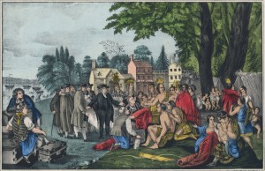 Color illustration of William Penn negotiating with Lenape Indians beneath a large elm tree.