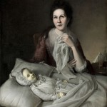 A portrait of Rachel (the wife of Chalres Willson Peale), crying over the body of her daughter Margeret who died of Smallpox.