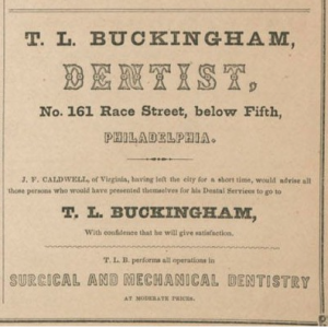 Advertisement for a Dentist, 1851