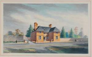 Color illustration of the red brick home William Penn rented from 1699 through 1701.