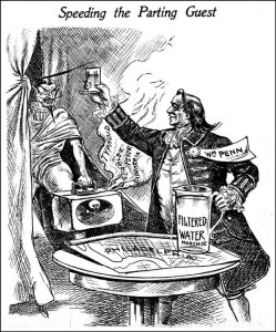 An Editorial cartoon from 1909 depicting William Penn celebrating filtered drinking water supply in Philadelphia.