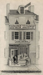 "An illustration of Thomas Ellwood Chapman's Book Store and Book Bindery (74 North Fourth St, Philadelphia). A woman leans forward, looking at the books displayed in the store's window, while a man walks in through the door to the left. Various signs on the three-story building read, ""RAGS BOUGHT,"" ""BOOK BINDERY,"" ""T.E. CHAPMAN BOOK SELLER"" and ""BOOK STORE."""