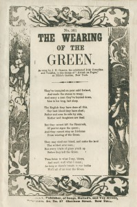 "Scan of a ballad sheet titled ""The Wearing of the Green"". Lyrics are typed in the middle of the page."