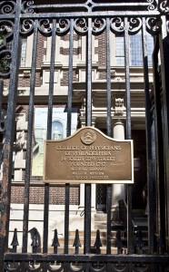 Plaque on the front gate of the College of Physicians of Philadelphia.