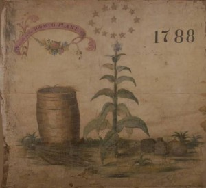 "A silk banner representing the tobocconist occupation at the Grand Federal Procession. On the banner are painted the design of a tobacco plant bottle and bladder of snuff, thirteen stars, and a tobacco barrel beneath a pink ribbon which reads, ""Success to the Tobacco Plant"" and the date, ""1788."""