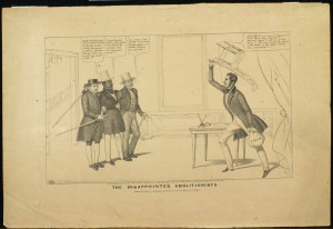 A political cartoon of two white men and one black man cowering while being confronted by an angry white man holding a chair and a bag of money