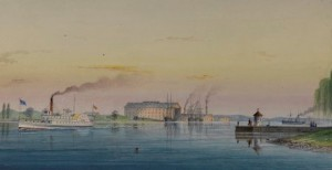 A painting of the New Jersey coastline from Smith's Island in 1863.