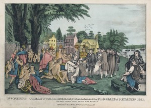 a colored lithograph of William Penn and interpreters meeting with the Lenape Indians on Petty Island