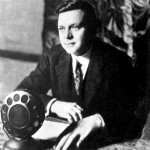 Black and white photograph of radio announcer Christopher Graham.