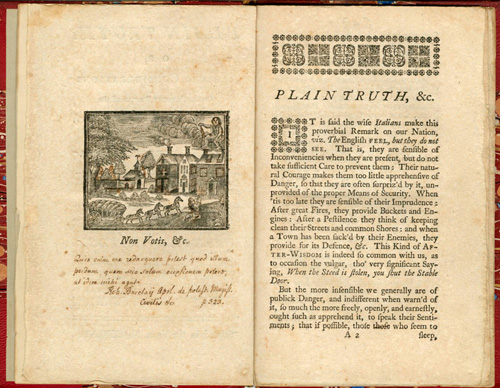 "non votis "" frontispiece of plain truth or serious   serious considerations on the present state of the city of philadelphia and province of pennsylvania by benjamin franklin philadelphia 1747"