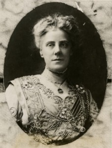 Bust-length, sepia-tone portrait of Anna Jarvis facing slightly left.