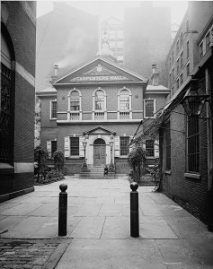 A Photograph of Carpenters Hall located at 320 Chestnut Street.