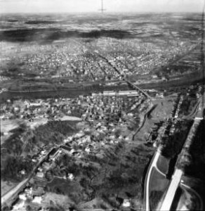 A picture of the town of Conshohocken Pennsylvania, from the year