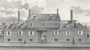 A drawing of the Friends' Almshouse.