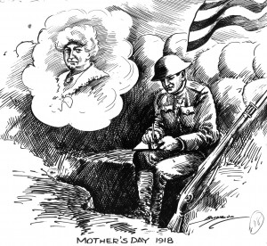 Black line drawing of an American soldier sitting on the edge of his trench during World War I writing a letter to his mother.
