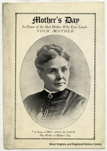Front of paper program with bust-length portrait of Ann Reeves Jarvis, head turned slightly right.