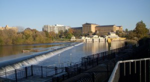 A view of a fish ladder from the West Bank of the Schuylkiill Dam. In the background of the image one can see the Fairmount Water Works just below the Philadelphia Musuem of Art.