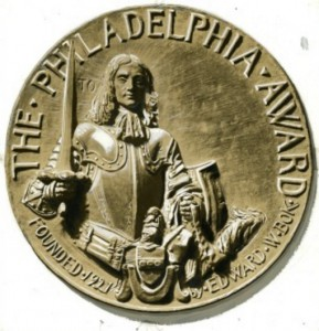 "The Philadelphia Award medal depicts William Penn on this side and Jesus on the other, with the words, ""I am among you as he that serveth."""