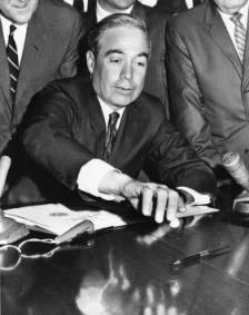 A picture of Pennsylvania Governor William Scranton signing a bill in his office