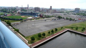The parking lots on Camden's Delaware riverfront, an area that once was packed with industrial buildings, were named in September 2015 as the proposed site of a $1 billion office, residential, and commercial complex.  (Photograph by Donald D. Groff for the Encyclopedia of Greater Philadelphia)