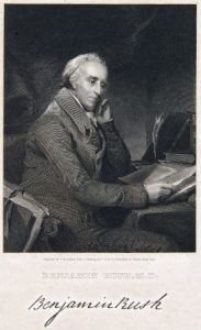A black and white illustration of Benjamin Rush seated at a desk with papers
