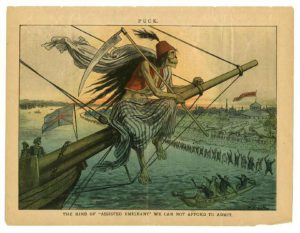 A color political cartoon depicting cholera as a grim reaper figure on the bow of a ship flying British flags
