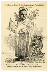A political cartoon depicting William Vare in a tattered angel costume while the devil laughs beside him