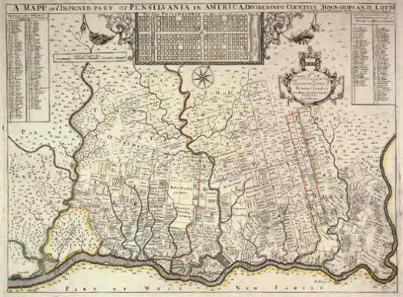 An Image Of Thomas Holme S A Map Of Ye Improved Part Of Pensilvania In America