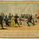 A colored political cartoon of an ill man in bed surrounded by a crowd of doctors and an African American woman