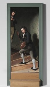 A painting which creates the illusion of an ascending staircase set in a door frame, with the first step physically attached to the front of the painting, extending slightly onto the paintings (doorway) frame on each side.  In the painting, two boys ascend the staircase, one (at left, ascending the stairs, facing slightly away from the viewer) with a palette and paintbrush, the other merely peering out from behind the frame, higher up the stairs at the left side.