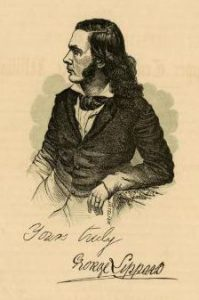 A printed illustration of George Lippard in profile, leaning his left elbow on a desk