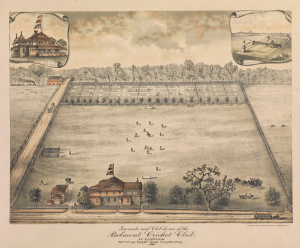 A colored overhead illustration of the Belmont Cricket Club grounds, including the clubhouse, players playing cricket in the field and tennis courts at the back of the grounds behind a line of trees.