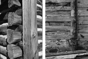 Two black and white photographs depicting two different ways log walls were joined together at the corner.