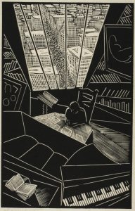 A cubist woodblock print illustrated by Wharton Esherick as a gift to a friend.