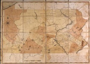 An image of the Reading Howell map of Pennsylvania, depicting Pennsyvania's boundaries as a U.S. state.