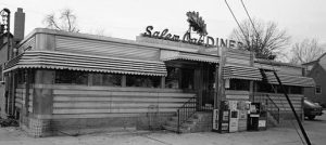 A black and white photograph of the Salem Oak diner in Salem, New Jersey.