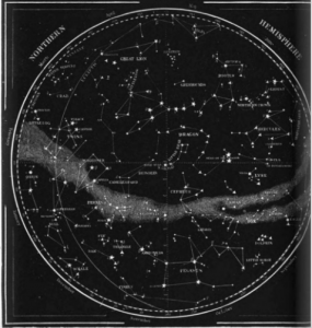A black and white map of the stars as they may be observed from the northern hemisphere