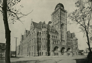 A 1902 photograph of Central High School's building on Broad and Green Streets with its observatory