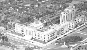 An aerial photograph of the new home of the Franklin Institute, taken in 1934.