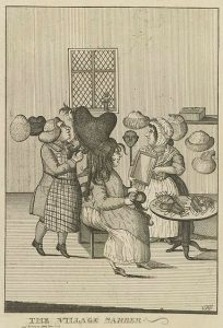 An engraving of an eighteenth century barber styling a powdered wig on a lady.