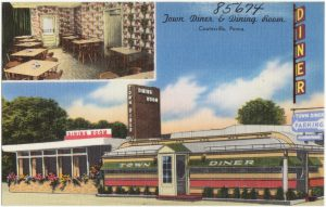 postcard showing Town Diner of Coatesville, PA, from collection of boston public library.