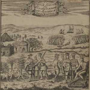 A black and white illustration of Swedish colonists conversing with Lenape indians